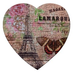 Girly Bee Crown  Butterfly Paris Eiffel Tower Fashion Jigsaw Puzzle (heart)