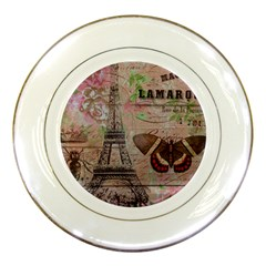 Girly Bee Crown  Butterfly Paris Eiffel Tower Fashion Porcelain Display Plate