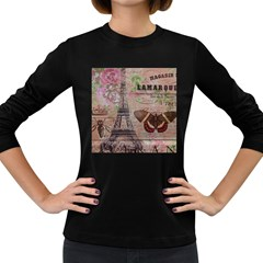 Girly Bee Crown  Butterfly Paris Eiffel Tower Fashion Womens' Long Sleeve T-shirt (Dark Colored)