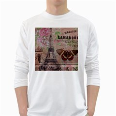 Girly Bee Crown  Butterfly Paris Eiffel Tower Fashion Mens' Long Sleeve T Shirt (white)