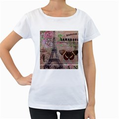 Girly Bee Crown  Butterfly Paris Eiffel Tower Fashion Womens' Maternity T-shirt (White)