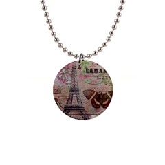 Girly Bee Crown  Butterfly Paris Eiffel Tower Fashion Button Necklace