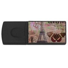 Girly Bee Crown  Butterfly Paris Eiffel Tower Fashion 4GB USB Flash Drive (Rectangle)