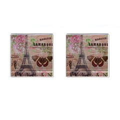 Girly Bee Crown  Butterfly Paris Eiffel Tower Fashion Cufflinks (square)