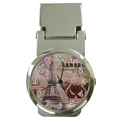 Girly Bee Crown  Butterfly Paris Eiffel Tower Fashion Money Clip with Watch