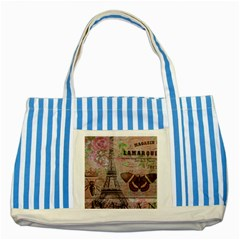 Girly Bee Crown  Butterfly Paris Eiffel Tower Fashion Blue Striped Tote Bag