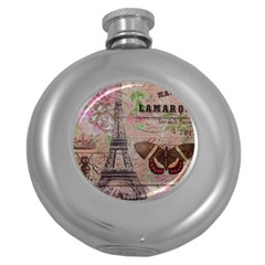 Girly Bee Crown  Butterfly Paris Eiffel Tower Fashion Hip Flask (round)