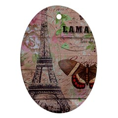 Girly Bee Crown  Butterfly Paris Eiffel Tower Fashion Oval Ornament (Two Sides)
