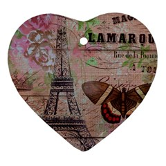 Girly Bee Crown  Butterfly Paris Eiffel Tower Fashion Heart Ornament (Two Sides)