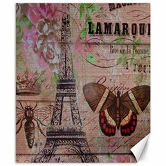Girly Bee Crown  Butterfly Paris Eiffel Tower Fashion Canvas 8  X 10  (unframed)