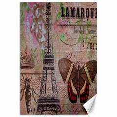 Girly Bee Crown  Butterfly Paris Eiffel Tower Fashion Canvas 12  x 18  (Unframed)
