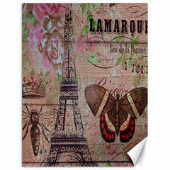 Girly Bee Crown  Butterfly Paris Eiffel Tower Fashion Canvas 18  x 24  (Unframed)