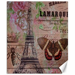 Girly Bee Crown  Butterfly Paris Eiffel Tower Fashion Canvas 20  x 24  (Unframed)