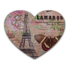 Girly Bee Crown  Butterfly Paris Eiffel Tower Fashion Mouse Pad (Heart)