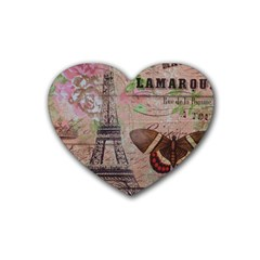 Girly Bee Crown  Butterfly Paris Eiffel Tower Fashion Drink Coasters 4 Pack (Heart)