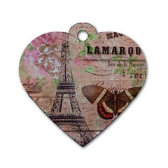 Girly Bee Crown  Butterfly Paris Eiffel Tower Fashion Dog Tag Heart (Two Sided)