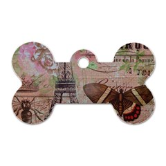 Girly Bee Crown  Butterfly Paris Eiffel Tower Fashion Dog Tag Bone (Two Sided)