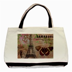 Girly Bee Crown  Butterfly Paris Eiffel Tower Fashion Twin-sided Black Tote Bag