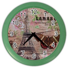 Girly Bee Crown  Butterfly Paris Eiffel Tower Fashion Wall Clock (Color)