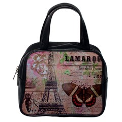 Girly Bee Crown  Butterfly Paris Eiffel Tower Fashion Classic Handbag (One Side)
