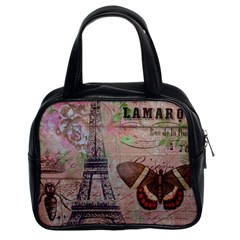 Girly Bee Crown  Butterfly Paris Eiffel Tower Fashion Classic Handbag (Two Sides)