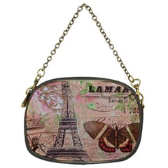 Girly Bee Crown  Butterfly Paris Eiffel Tower Fashion Chain Purse (Two Sided)