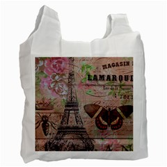 Girly Bee Crown  Butterfly Paris Eiffel Tower Fashion Recycle Bag (Two Sides)