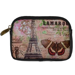 Girly Bee Crown  Butterfly Paris Eiffel Tower Fashion Digital Camera Leather Case
