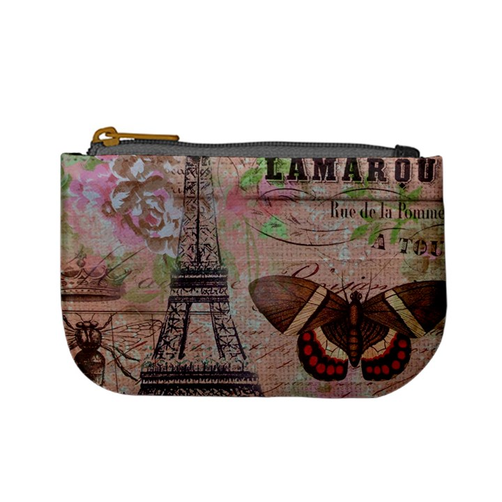 Girly Bee Crown  Butterfly Paris Eiffel Tower Fashion Coin Change Purse
