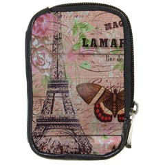 Girly Bee Crown  Butterfly Paris Eiffel Tower Fashion Compact Camera Leather Case