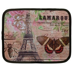 Girly Bee Crown  Butterfly Paris Eiffel Tower Fashion Netbook Case (XXL)