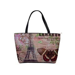 Girly Bee Crown  Butterfly Paris Eiffel Tower Fashion Large Shoulder Bag