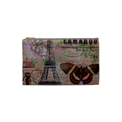 Girly Bee Crown  Butterfly Paris Eiffel Tower Fashion Cosmetic Bag (Small)