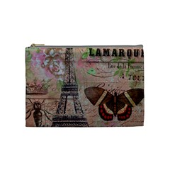 Girly Bee Crown  Butterfly Paris Eiffel Tower Fashion Cosmetic Bag (Medium)
