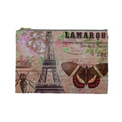 Girly Bee Crown  Butterfly Paris Eiffel Tower Fashion Cosmetic Bag (Large)