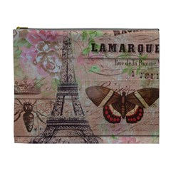 Girly Bee Crown  Butterfly Paris Eiffel Tower Fashion Cosmetic Bag (XL)