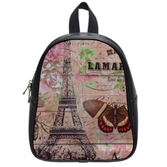 Girly Bee Crown  Butterfly Paris Eiffel Tower Fashion School Bag (Small)