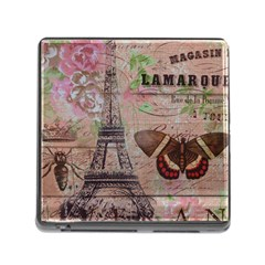Girly Bee Crown  Butterfly Paris Eiffel Tower Fashion Memory Card Reader with Storage (Square)
