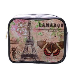 Girly Bee Crown  Butterfly Paris Eiffel Tower Fashion Mini Travel Toiletry Bag (one Side)