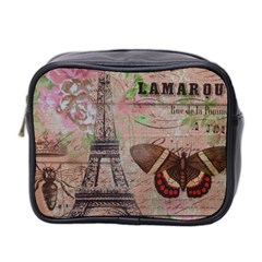 Girly Bee Crown  Butterfly Paris Eiffel Tower Fashion Mini Travel Toiletry Bag (Two Sides)
