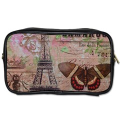 Girly Bee Crown  Butterfly Paris Eiffel Tower Fashion Travel Toiletry Bag (Two Sides)
