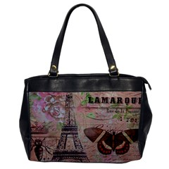 Girly Bee Crown  Butterfly Paris Eiffel Tower Fashion Oversize Office Handbag (One Side)