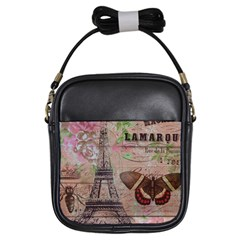 Girly Bee Crown  Butterfly Paris Eiffel Tower Fashion Girl s Sling Bag