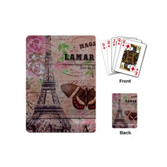 Girly Bee Crown  Butterfly Paris Eiffel Tower Fashion Playing Cards (mini)
