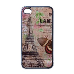 Girly Bee Crown  Butterfly Paris Eiffel Tower Fashion Apple iPhone 4 Case (Black)