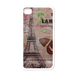 Girly Bee Crown  Butterfly Paris Eiffel Tower Fashion Apple iPhone 4 Case (White)