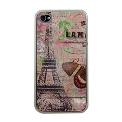 Girly Bee Crown  Butterfly Paris Eiffel Tower Fashion Apple iPhone 4 Case (Clear)