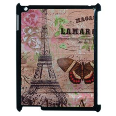 Girly Bee Crown  Butterfly Paris Eiffel Tower Fashion Apple iPad 2 Case (Black)