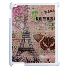 Girly Bee Crown  Butterfly Paris Eiffel Tower Fashion Apple iPad 2 Case (White)
