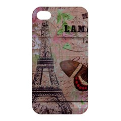 Girly Bee Crown  Butterfly Paris Eiffel Tower Fashion Apple Iphone 4/4s Hardshell Case